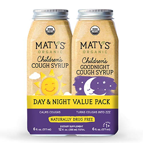 Maty's Organic Children's Cough Syrup Day & Night Value Pack - Organic Cough Syrup for Kids. Calms Cough All Day & All Night. 2 Bottles, 12 Fl Oz