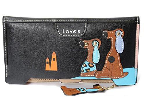 Mineroad Damen Hund Muster Large Geldbörse Geldbeutel PU Leder Kleingeldfach Portemonnaie Brieftasche Schwarz One size