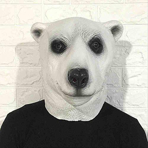 ZGWS Halloween Eisbär Maske Tierkopf Set Cartoon niedlichen Latex Kopfschmuck Make-up Kugelstange Show Requisiten