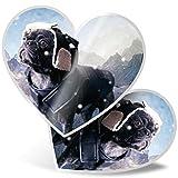 Impresionante 2 pegatinas de corazón de 7,5 cm – Mountain Explorer Dog Puppy Fun calcomanías para portátiles, tabletas, equipaje, libros de chatarras, neveras, regalo genial #2606