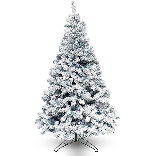 Emma's Shop 7.5 ft Snow Flocked Christmas Tree Artificial Premium Spruce Hinged,Xmas Pine Tree with Foldable Solid Metal Stand Holiday Decoration for Indoor and Outdoor (7.5 FT)