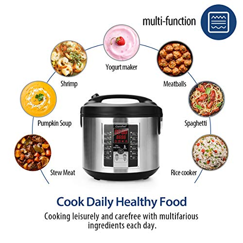 COMFEE' Rice Cooker, Slow Cooker, Steamer, Stewpot, Sauté All in One (12 Digital Cooking Programs) Multi Cooker (5.2Qt ) Large Capacity. 24 Hours Preset & Instant Keep Warm