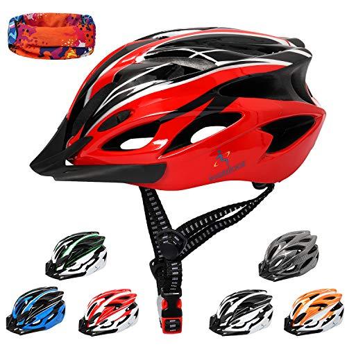 ioutdoor Erwachsene Fahrradhelm CE EN1078, EPS-Körper + PC-Schale, Robust und Ultraleicht, mit Abnehmbarem Visier und Polsterung, mit freiem Stirnband, Verstellbar Radhelm(56-64cm) (Rot Schwarz)