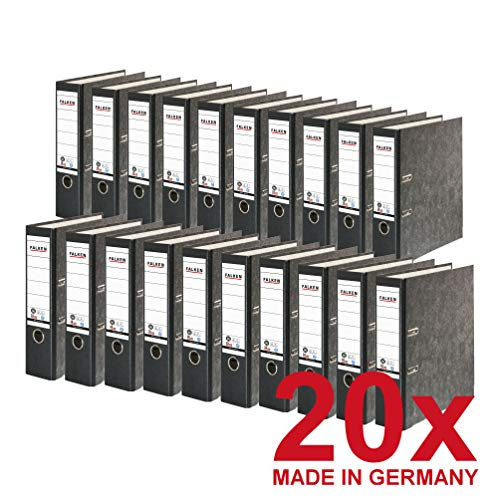 Original Falken 20er Pack Recycling-Ordner Wolkenmarmor. Made in Germany. 8 cm breit DIN A4 schwarzer Rücken Ringordner Aktenordner Briefordner Büroordner Pappordner CO2-Neutral Blauer Engel