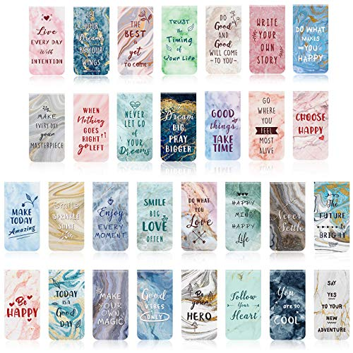 30 Pieces Inspirational Magnetic Bookmarks Marble Magnetic Bookmarks Page Clips Bookmarks for Students Teachers School Home Office Supplies, 30 Styles
