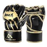 Brace Master MMA Gloves UFC Gloves Boxing Gloves for Men Women Leather More Paddding Fingerless Punching Bag Gloves for Kickboxing, Sparring, Muay Thai and Heavy Bag(DG Gold, M)