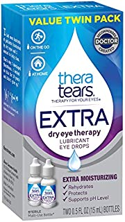 TheraTears Eye Drops for Dry Eyes, Extra Dry Eye Therapy Lubricant, 0.5 Fl Oz, 15 Ml, 2 Pack