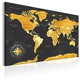 murando englische Weltkarte Pinnwand & Vlies Leinwand Bild 120x80 cm XXL Bilder mit Kork Rückwand Set mit 50 Markierfähnchen-Pinnnadeln Korktafel Kunstdruck Wandbilder Lernkarte Landkarte...