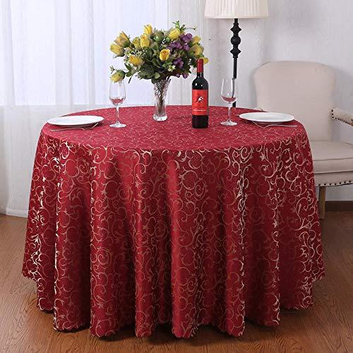 Kuingbhn Mantel de Mesa Rectangular de Tela Manteles Light Luxury Home Lavables Antimanchas para decoración de La Mesa de Comedor Red Circle Diameter 380cm