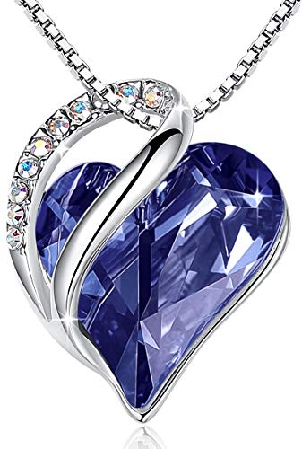 Leafael'Infinity Love' Heart Pendant Necklace Made with Swarovski Crystals Tanzanite Purple February Birthstone Jewelry Gifts for Women, Silver-tone, 18'+2', Presented by Miss New York