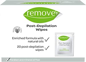 REMOVE Post Depilation Wipes, 20 Count, Enriched with Natural Oils