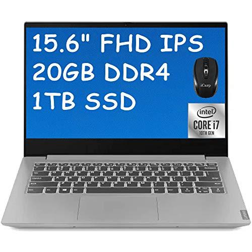 "2021 Flagship Lenovo IdeaPad S340 Laptop 15.6"" FHD IPS Anti-Glare Display 10th Gen Intel Quad-Core i7-1065G7 20GB DDR4 1TB SSD WiFi HDMI Webcam Dolby Backlit Keyboard Win 10 + iCarp Wireless Mouse"