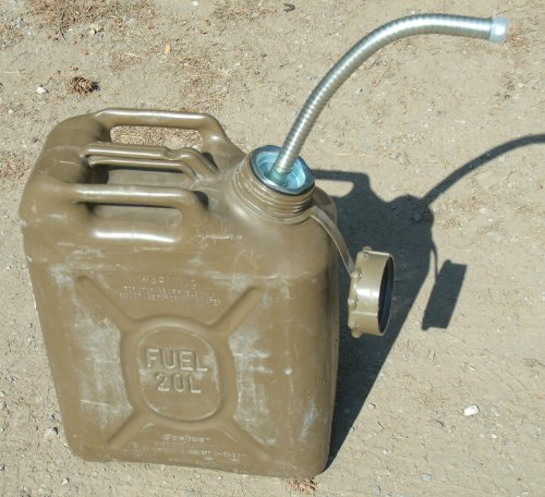 Military Jerry can nozzle fits 5 gallon jerry can metal and the Scepter fuel spout 5gal can