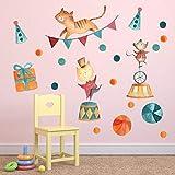 PISKLIU Wandsticker Wandfiguren Maus Katzen Zirkus Wandaufkleber Lustige Tier Dekoration