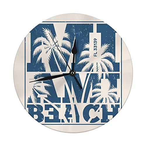 FETEAM Reloj de Pared sin tictac 9,8 'Pulgadas Miami Palm Trees Sello Etiqueta Reloj Redondo Digital