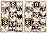 WandSticker4U®- 36er-Set 3D Schmetterlinge mit Glitzern SCHWARZ WEIß I Butterfly Dekoration Fenster Möbel Basteln Hochzeit Tischdeko I Wand Deko für Wohnzimmer Schlafzimmer Kinderzimmer Kinder - 3