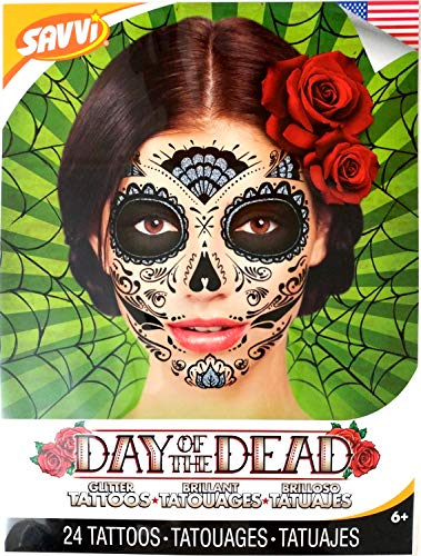 Day Of The Dead Sugar Skull Temporary Face Tattoos (GLITTER WEB)