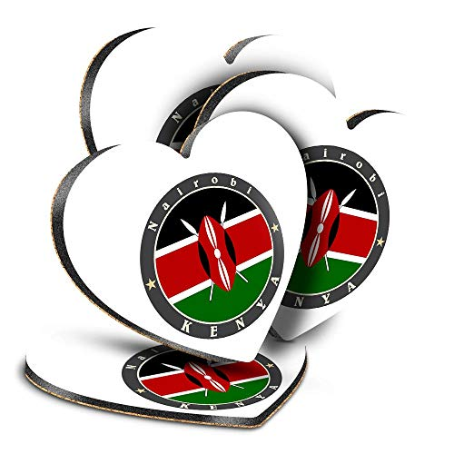 Destination Vinyl ltd Great Posavasos (juego de 4) Corazón – Kenya East Africa Nairobi Bandera de viaje bebida brillante posavasos / protección de mesa para cualquier tipo de mesa #5186