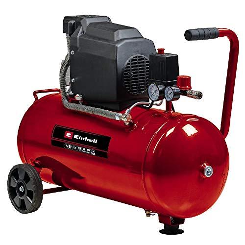 Einhell Compresor TC-AC 190 50 8 (1500 W, máx. 8 bar, lubricación por aceite, depósito de 50 l, válvula de retención   seguridad, tornillo de drenaje para el mantenimiento, pie engomado)