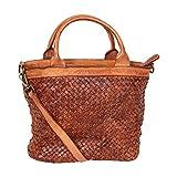 fashion-formel Leder Damen Tasche Beutel geflochten, Shopper, Schultertasche Vintage Used Look M2124 gewaschenes Leder, Italy handgefertigt