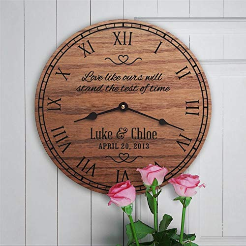 Love Like Ours Will Stand The Test Of Time Reloj de pared de madera, funciona con pilas, para decoración del hogar