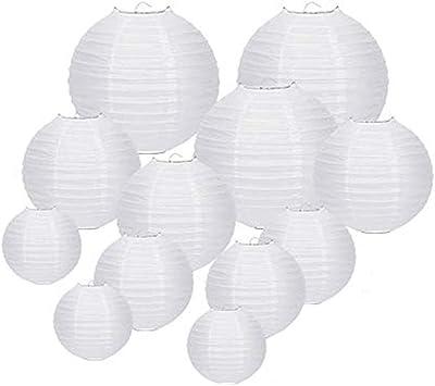 Cratone Papier Laterne Lampions rund Papierlaterne für Party Hochzeit 12 Stk