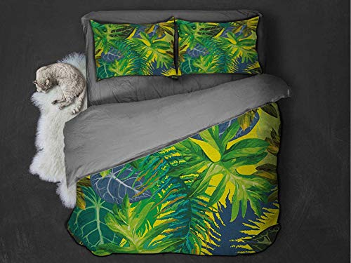Plant 3-pack (1 duvet cover and 2 pillowcases) Botany Themed Drawing Depicting Exotic Leaves in Tropical Environment Hawaiian Vibes Polyester (Queen) Multicolor