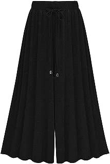 Women's Elastic Waist Modal Jersey Wide Legs Cropped Culotte Pants