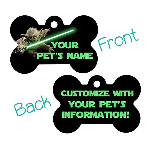 uDesignUSA Custom Double Sided Pet Id Tags for Dogs & Cats Personalized for Your Pet (Yoda, Bone Shaped)