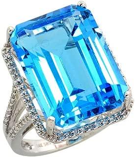 14k White Gold Large Stone Ring, w/ 0.30 Carat Brilliant Cut Diamonds & 19.00 Carats 18x13mm Emerald Cut Blue Topaz Stone, 3/4