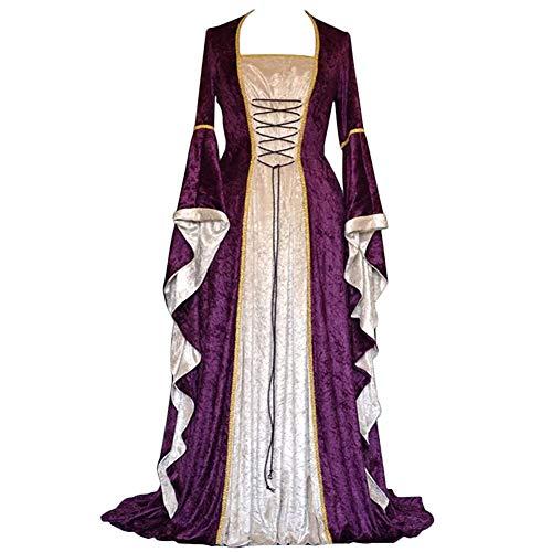 YunFeel Vestido Medieval para Mujer, Disfraz de renacentista, Vestido Retro irlandés, Cosplay sobre Vestidos Largos - Morado - M