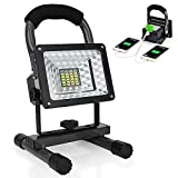 LED Work Light with Magnetic Stand 15W 24 LED Rechargeable Shop Light Portable Outdoor Camping Spotlights with Dual USB Port and Emergency Mode