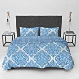 Lux Decor Collection Duvet Cover Set, 1800 Count Egyptian Quality King Soft Premium Bedding Collection, 3 Piece Luxury Soft, 2 Pillow Shams (Medallions Blue, Full/Queen)