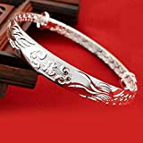 Women's 999 Solid Sterling Silver Chinese Dragon Phoenix Carved Adjustable Bangle Bracelet 15g Weight for Women,Ladies and Elder.