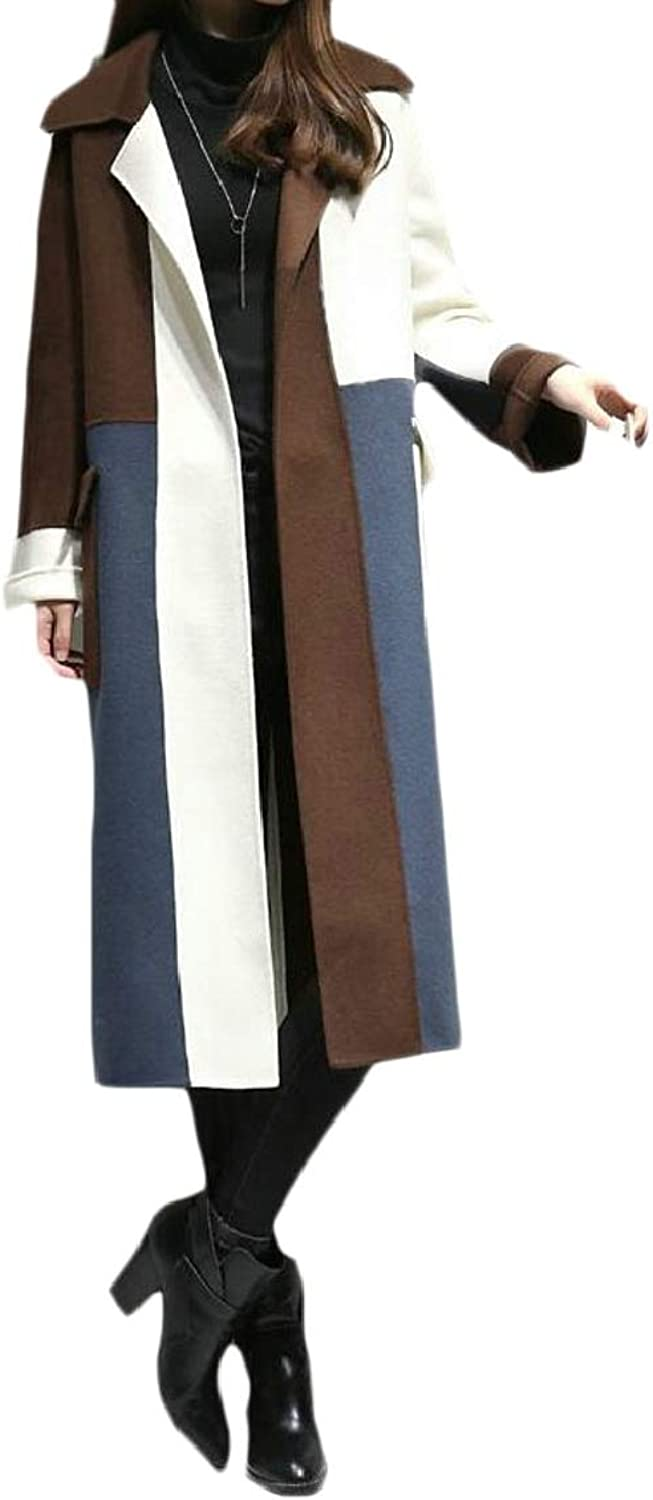 QDCACA Women Winter Autumn Contrast color Woolen Coat Long Trench Jacket Outwear