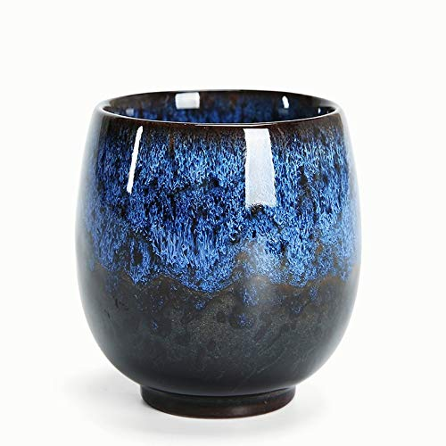 Juego de taza de té de cerámica de porcelana y té con taza de té caliente para regalo (1 unidad), color azul