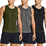 COOFANDY Men's 3 Pack Tank Tops Workout Gym Shirts Muscle Tee Bodybuilding Fitness Sleeveless T Shirts (Large, Army Green/Black/Grey)