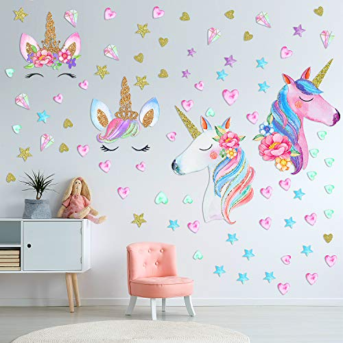 Outus 3 Sheets Unicorn Wall Decal Stickers, Large Size Unicorn Wall Decor with Heart and Stars for Girls Kids Bedroom Nursery Christmas Birthday Party Decoration