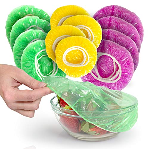 Besti Set of 96 Colorful Elastic Food Storage Covers   Reusable Fitted Bowl Covers Great Substitute for Foil and Plastic Wrap   Translucent Stretchy Plate Cover Delivers Ultimate Convenience