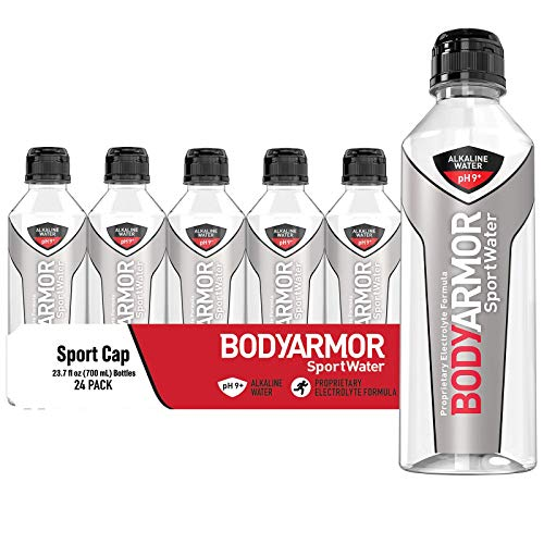 BODYARMOR SportWater Alkaline Water, Superior Hydration, High Alkaline Water pH 9+, Electrolytes, Perfect for your Active Lifestyle, 700mL Sport Cap (Pack of 24), 568.8 Fl Oz