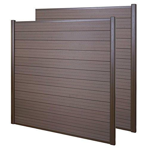 Mendler WPC-Sichtschutz Sarthe, Windschutz Zaun, Alu-Pfosten ~ 2er Set, 3,75m braun