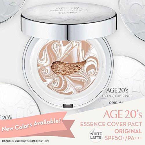 Age 20's Compact Foundation Makeup, Essence Cover Pact SPF50+ Sunscreen (Wrinkle-Smoothing & Brightening) with 68% Hyaluronic Serum (Made in Korea) - Color No. 21 - White / Light Beige Latte