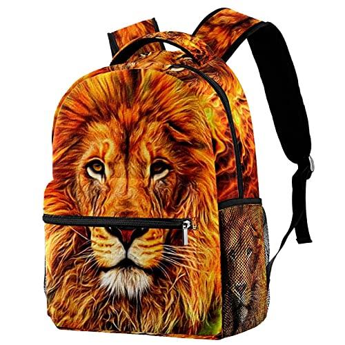 Mochila para niñas y niños, bolsa de escuela, bolsa de libros para mujeres, casual, con correas ajustables para el hombro, divertido, gris y gatos lindos, Fire Lion 10, 29.4x20x40cm,