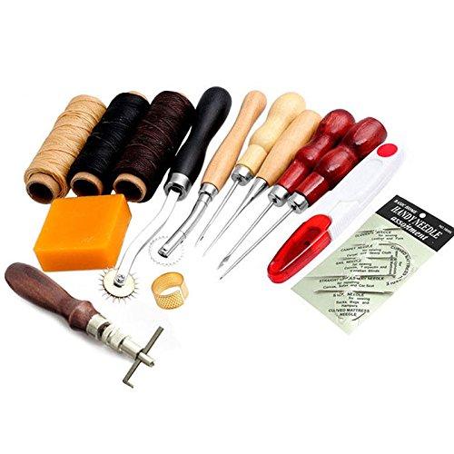 14-teiliges Lederbearbeitungs-Set, mit Nadeln und anderem Werkzeug zum N�hen von Hand