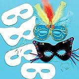 Baker Ross Masken-Set in Weiß, sortiert (12 Stück) - 2 Verschiedene Designs - Ein Hit zu Karneval oder auf Faschingspartys