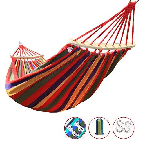 XiuHUa Hangmat - Duurzame outdoor camping katoen dubbel (1-2 personen) draagbare hangmat, ultra licht, kinderhangmat, hangstoel, rollover preventie, geschikt voor familie, studentenslaapzaal, B