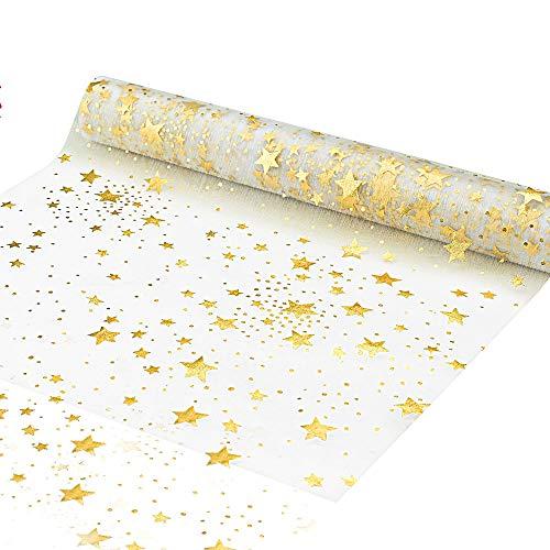 YOUKCDT Tischläufer Sterne Gold Gepunktet Tischdecke Lang5m Breit28cm Tischband Organza Tischdeko für Weihnachten Adventszeit Deko Weihnachtsfeier Hochzeit Taufe Kommunion