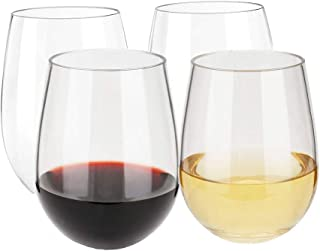 Inewex Unbreakable Plastic Stemless Wine Glasses 16 oz   Elegant Shatterproof Tritan Glassware   Durable Reusable Plastic Indoor/Outdoor Cups   Dishwasher Safe - Set of 4