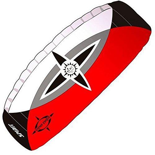 elliot 1011656 Elliot Sigma Spirit 2.5 Zweileiner-Lenkdrachen (Lenkmatte), rtf, 240 x 90 cm, Bft. 2-7, schwarz/weiß/rot