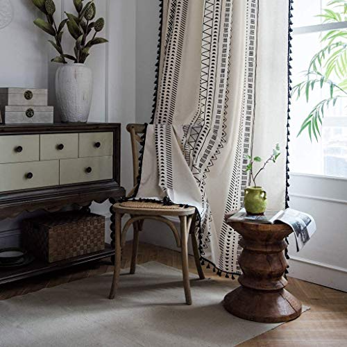 Boho Window Curtain Panel with Tassels Black Striped Geometric Print Country Style Cotton Linen Semi-Blackout Drapes Farmhouse Room Curtain Panel for Bedroom Living Room Rod Pocket Top
